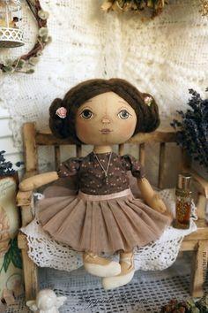 Купить Полина (интерьерная кукла) - коричневый, балерина, тыквоголовка, текстильная кукла, интерьерная кукла, подарок
