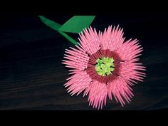 3D origami Cosmos flower tutorial (instruction) - YouTube