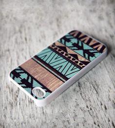 Mint Geometric Art on Wood Print iPhone Case