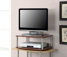 Convenience Concepts Two Tier Swivel TV Stand in Cherry