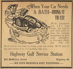 """""""When Your Car Needs A Bath-Bring It To Us!"""" Highway Gulf Service Station, The McGregor Mirror and Herald-Observer (McGregor, Tex.), May 26, 1950"""