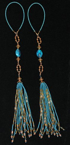 BEADED TASSELS  Turquoise Beads and Decorative by GMBDesignsCustom, $29.00