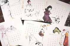 カレンダー #イラスト #カレンダー #アート #ドローイング #インク #ペン #シンプル #デザイン #動物 #シンプル #illustration #calendar #paper #art #drawing #ink #pen #simple #design #junsasaki #animal