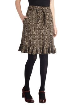 Meet and Treat Skirt by Effie's Heart - Tan, Print, Work, A-line, Exclusives, Mid-length, Cotton, Woven, Pockets, Ruffles, Belted