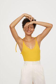 Gerippter Body | Gelb | DAMEN | H&M DE