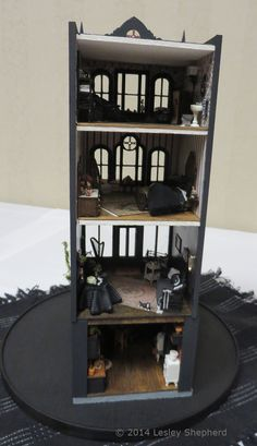 English row house in quarter scale,  entirely in black and white. - Photo © 2014 Lesley Shepherd