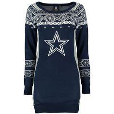 Klew Dallas Cowboys Women's Navy Big Logo Ugly Sweater Dress