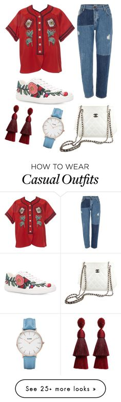 """Red,white,blue casual elegant"" by dessyaramadhanti on Polyvore featuring Gucci, River Island, Chanel, Oscar de la Renta and CLUSE"
