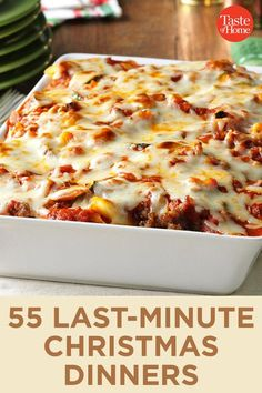55 Last-Minute Christmas Dinners 55 Last-Minute Christmas Dinners Source by taste_of_home Christmas Dinner Menu, Christmas Party Food, Christmas Dishes, Christmas Cooking, Christmas Treats, Christmas Food Ideas For Dinner Meals, Christmas Lasagna, Christmas Pasta, Christmas Casserole