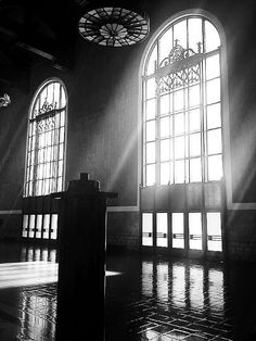 | union station windows bw union station in downtown los angeles ...