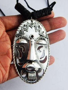 Silver Mask Necklace African Mens Necklace Silver Afrocentric Jewelry Mens Mask Pendant Gift Ideas for Him by TheBlackerTheBerry