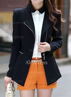 Coats - $18.53 - Cotton & Cotton Blend Long Sleeve Round Neck Zipper Blazers Coats & Jackets (1715133193)
