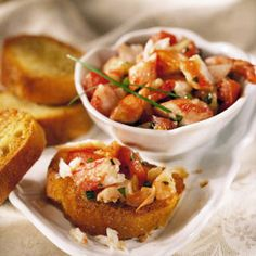 Bruschetta is toasted bread, traditionally rubbed with garlic and drizzled with olive oil. We keep it heart-healthy by topping the slices with a lemony shrimp-and-crabmeat mix. What Is High Cholesterol, Cholesterol Symptoms, Lower Your Cholesterol, Cholesterol Lowering Foods, Cholesterol Levels, Heart Healthy Recipes, Healthy Meals, Delicious Recipes, Healthy Eating