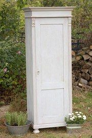 Forget Me Not - Old Antique Pine Slim Cupboard c1900