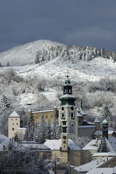 """Winter calling"" in Banská Štiavnica, Slovakia by Marian Garai Bratislava, Heart Of Europe, Medieval Town, Central Europe, Kirchen, Travel Goals, Eastern Europe, Hungary, Mountain Landscape"