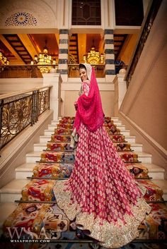 pink lehnga with train