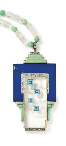 An Art Deco lapis lazuli, turquoise and rock crystal sautoir The pendant of geometric design centred on a carved rock crystal plaque, within a lapis lazuli and turquoise frame, with blue enamel and rose and single-cut diamond accents, to a barrel-shaped rock crystal bead necklace, interspersed to the front with vari-size turquoise beads, circa 1930, pendant 8.5 cm long, necklace 70.0 cm long