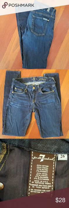 7 for all Mankind Gwenevre Jeans size 26 7 for all Mankind Gwenevre dark wash skinny jeans EUC. Washed in cold water and drip dried! 8 inch rise and 30 inch inseam. 7 For All Mankind Jeans Skinny