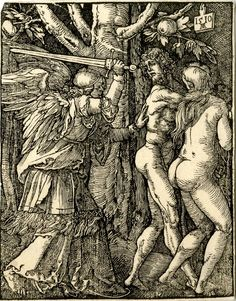 Copy of a woodcut from the series Small Passion of 1510, showing Adam and Eve being expelled from Paradise by an angel, pushing Adam away from the Tree of Knowledge towards the right.  c.1510-1550 Woodcut