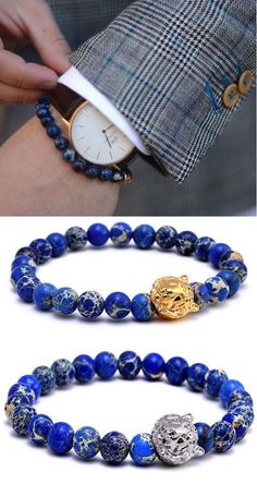Step out in this charming blue stone beaded bracelet with a tiger head charm. The bracelet is laced with stunning emperor stone beads of high quality. Gemstone Bracelets, Bracelets For Men, Leather Bracelets, Men's Accessories, Rocker, Mens Gear, Bracelet Watch, Bracelet Men, Stone Beads