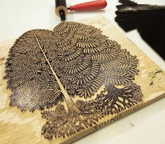 "Took a quick photo of the ""YOUNG PINES"" woodcut with 1st ink during proofing this past week. I'll be starting production of the edition in the coming week. Pre-order/buy a copy is now available! www.tugboatprintshop.com #woodcut #woodblock #art #print #printmaking #youngpines"