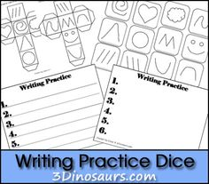FREE! New Writing Practice Printable: Writing Practice Dice 3Dinosaurs.com