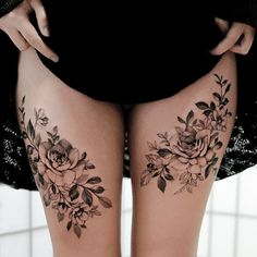 Amazing Tips On How To Choose The Perfect Tattoo Placement - Bafbouf Flower Tattoo Drawings, Flower Thigh Tattoos, Thigh Band Tattoo, Leg Sleeve Tattoo, Sleeve Tattoos For Women, Back Of Leg Tattoos Women, Hidden Tattoos, Small Tattoos, Hidden Tattoo Placement