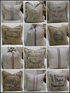 were to get grain sack french linen fabrics, crafts, reupholster Burlap Sacks, Burlap Pillows, Hessian, Throw Pillows, Burlap Projects, Burlap Crafts, Drop Cloth Projects, Fabric Crafts, Coffee Sacks