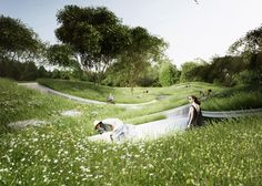 Penda has highlighted the global water crisis with a meadow pathway installation.