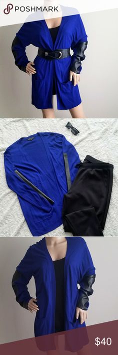 ELOQUII Cobalt Blue Cardigan ELOQUII Cobalt Blue Cardigan Size 18 /20 Faux leather detail Eloquii Tops