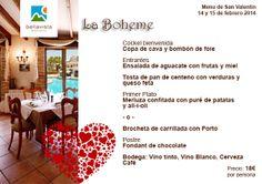 Menú de San Valentín Restaurante La Boheme, Bellavista Residential http://bellavistaresidencial.es/