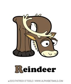 Reindeer - Alphabetimals make learning the ABC's easier and more fun! http://www.alphabetimals.com
