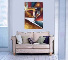 Contemporary Painting Large Painting on Canvas Abstract Painting Original Painting Blue and Red Painting Rustic Wall Decor 36 24 Heather Day