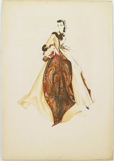 Unused costume design by Walter Plunkett for Vivien Leigh in Gone With the Wind