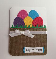 Handmade Easter Card, Happy Easter, Basket, Eggs, Easter Eggs, Easter Basket by JuliesPaperCrafts on Etsy https://www.etsy.com/listing/270370714/handmade-easter-card-happy-easter-basket