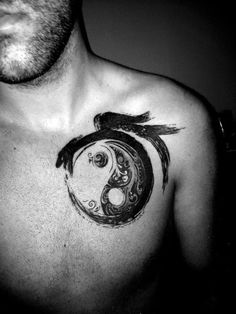 Paint Brush Dragon And Yin Yang Tattoos For Men On Chest