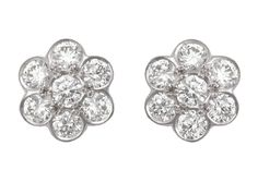 Shop diamond, pearl and gold vintage and antique earrings from the world's best jewelry dealers. White Gold Diamond Earrings, White Gold Jewelry, White Earrings, Cluster Earrings, Diamond Studs, White Gold Diamonds, Diamond Jewelry, Stud Earrings, Gold Jewellery