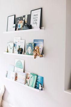 Baby room shelves - Nursery Ideas Modern A modern stylish unisex baby nursery with a neutral grey colour scheme