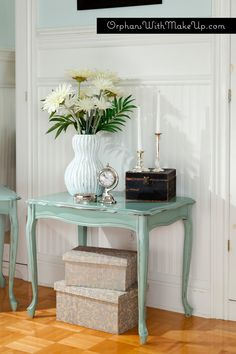 """Duck Egg Blue End Table  from """"Orphans with Makeup"""""""
