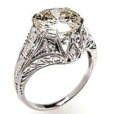 Antique Engagement Ring w/ 1.8 Carat Old Euro Diamond in Platinum