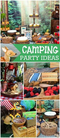 Check out this camping party with smores and a nature scavenger hunt! See more Party Wald / Camping Lila Party, Festa Party, Sofia Party, 4th Birthday Parties, Birthday Fun, Birthday Ideas, Camping Baby Showers, Lumberjack Party, Camping Parties