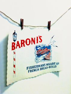 Nautical, San Francisco Wedding, Beach Decor, Tying the Knot, Beach Wedding, Fishermans Wharf, Baronis Bakery, Paper Placemat, Souvenir