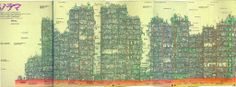 Amazing cross-section illustration of the now demolished city of Kowloon.