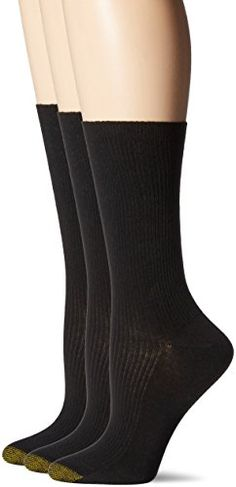 Gold Toe Women's Non-Binding Extended Size Rib Crew Sock (Pack of 3) -- Learn more by visiting the image link.