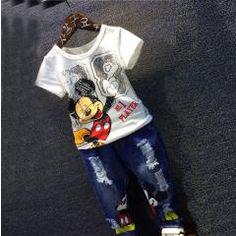 [ 36% OFF ] Summer New Boys Mickey Clothing Set Children Cartoon Cotton Short Sleeve T-Shirt + Jeans 2 Pcs. Suit Children Clothing