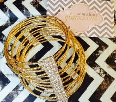 ShopLately Goodies!!! Gold Bangles with rhinestone bar! LOVE IT