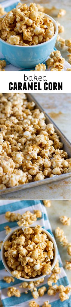 Homemade Baked Caramel Popcorn - Taste and Tell- Baked Caramel Corn Mini Desserts, Just Desserts, Oreo Dessert, Yummy Snacks, Delicious Desserts, Yummy Food, Healthy Snacks, Baking Recipes, Snack Recipes