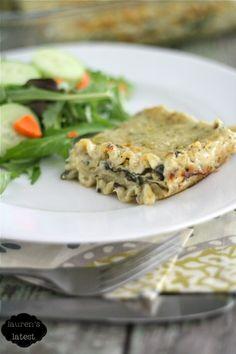 Spinach & Artichoke Lasagna... It's like your favorite dip layered between carbs. YUM!