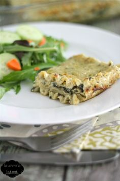 Spinach & Artichoke Lasagna... It's like your favorite dip layered between carbs. YUM!