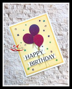 I created this card by sponging the background with So Saffron in. The greeting is from Happiest of Birthdays and the Balloons were punched out from Rainbow Glimmer Paper Birthday Cards, Happy Birthday, Punch Out, The Balloon, Stampin Up, Balloons, Birthdays, Card Making, Sponging